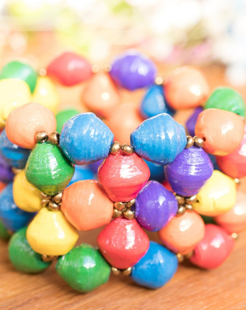 Colorful Paper Beads Bracelet ~ LB007