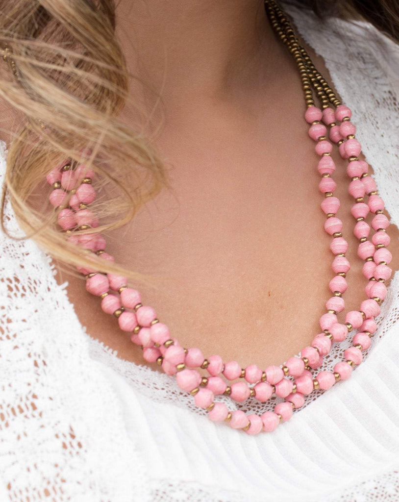 Pink Paper Beads Necklace ~ LN022