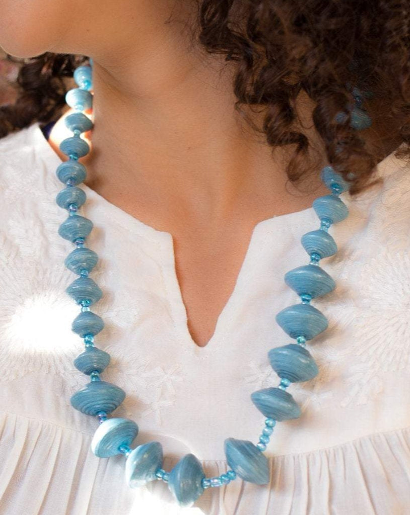 Blue Paper Beads Necklace ~ LN0
