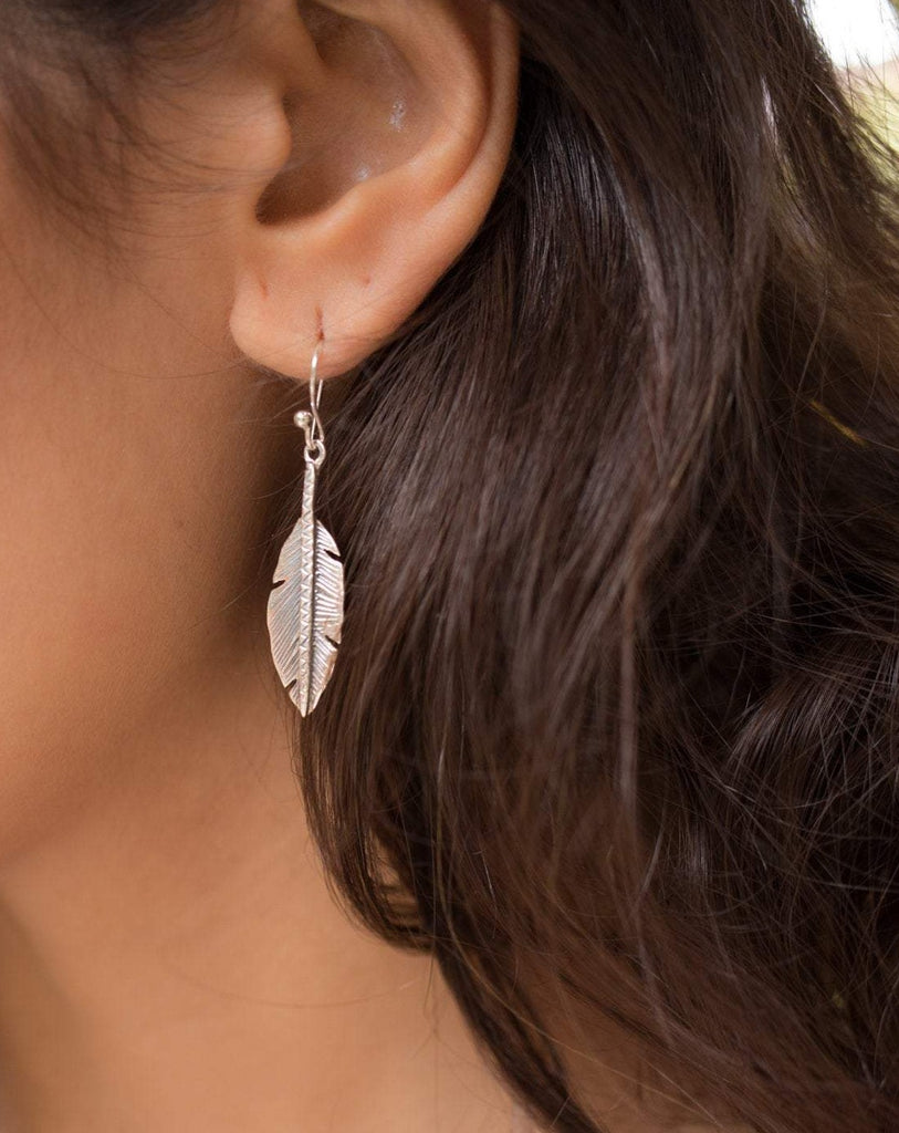 Leaf Earrings ~ Sterling Silver 925 ~ ME08 - Maresia Jewelry