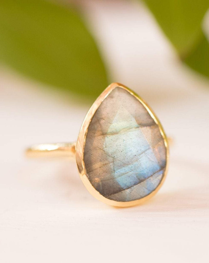 Lia Rainbow Labradorite Tear Drop Ring ~ 18k Gold Plated ~ MR009 - Maresia Jewelry