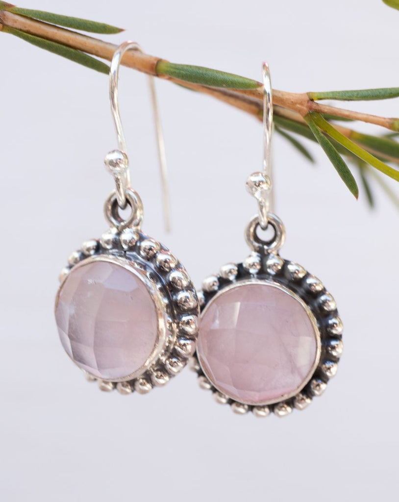 Rose Quartz Earrings ~Sterling Silver 925 ~ ME118 - Maresia Jewelry