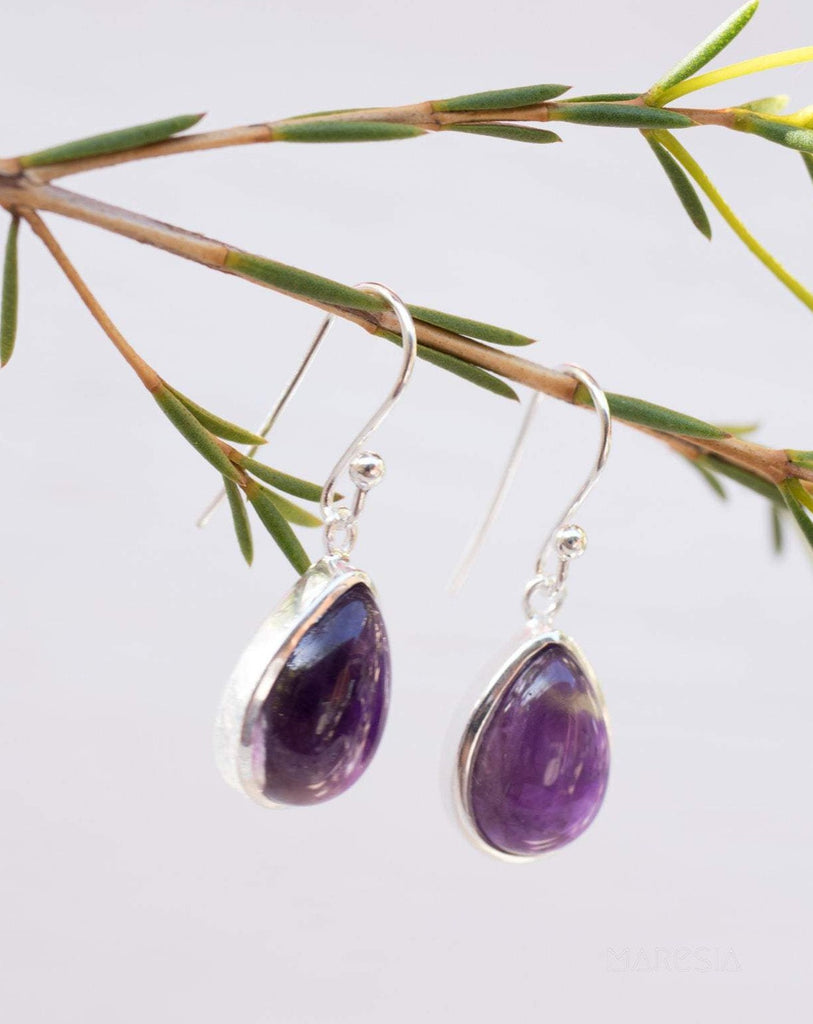 Amethyst Earrings ~ Sterling Silver 925 ~ ME139 - Maresia Jewelry