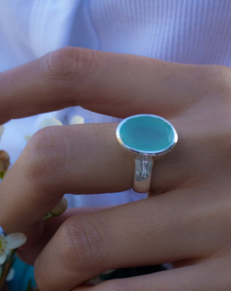 Aqua Chalcedony Ring ~ Sterling Silver 925 ~ MR176