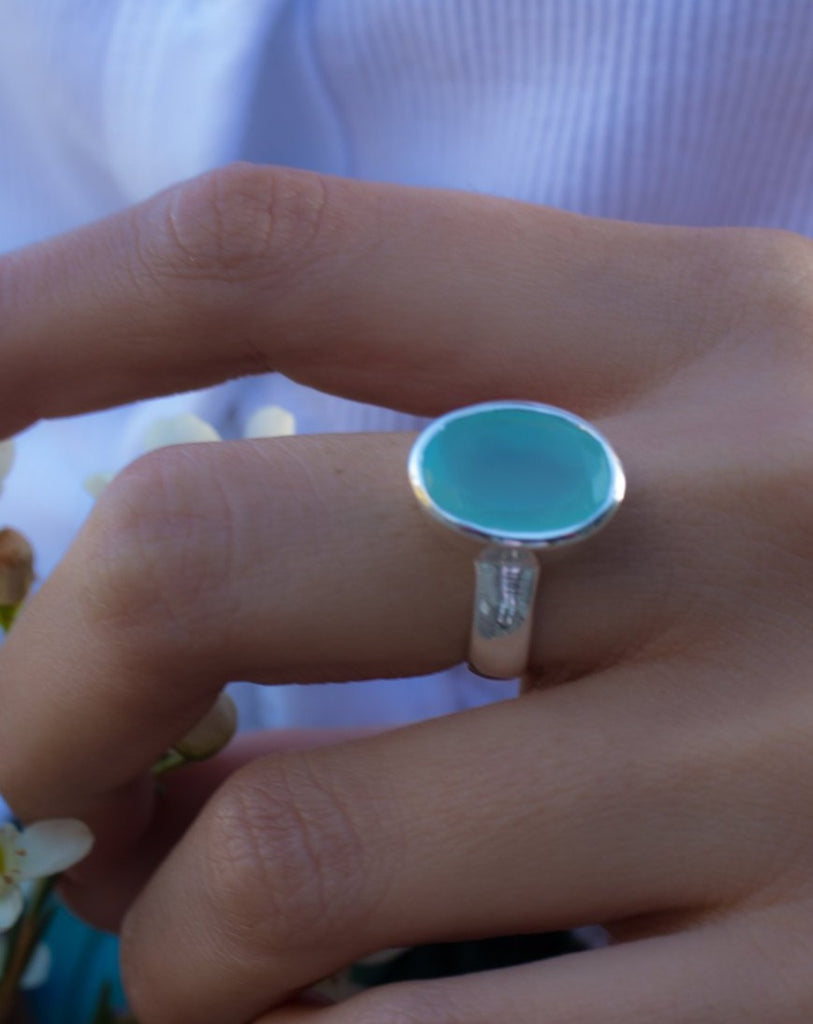 Aqua Chalcedony Ring ~ Sterling Silver 925 ~ MR176 - Maresia Jewelry