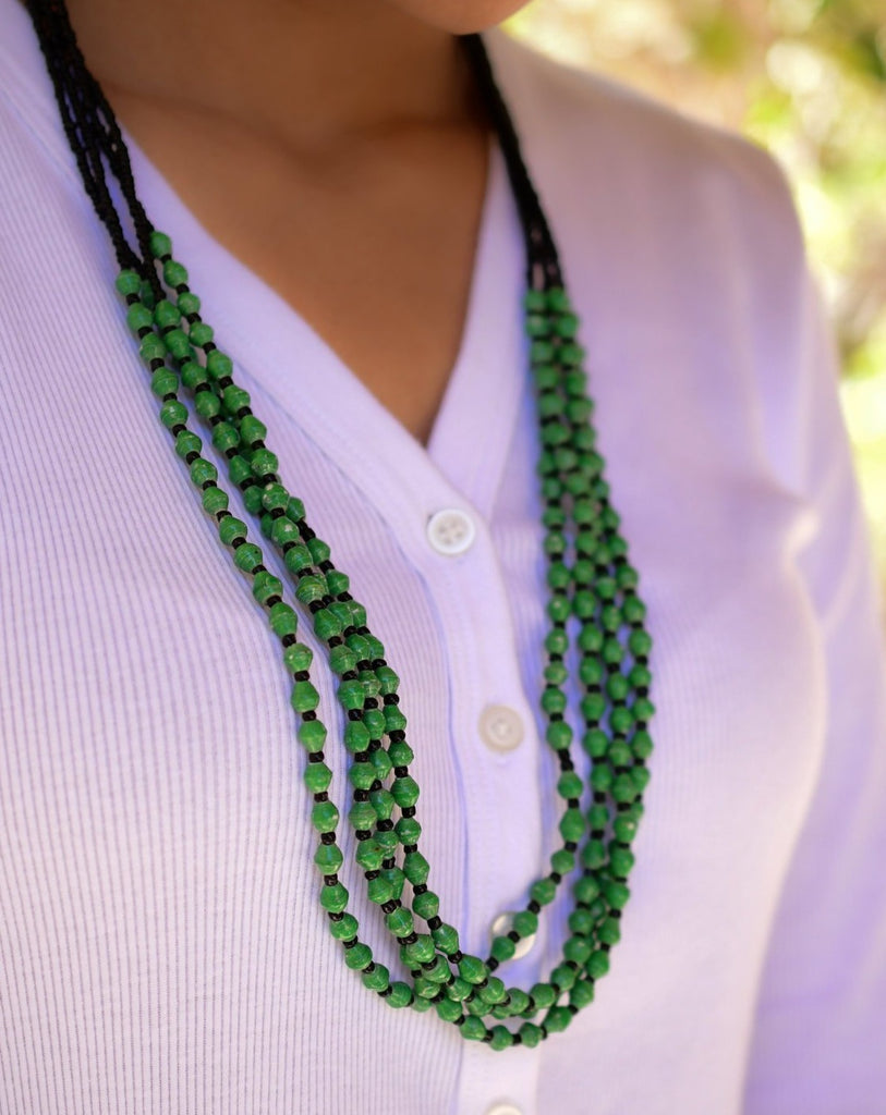 Green Paper Beads and seed beads Necklace ~ LN038