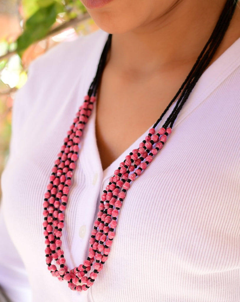 Pink Paper Beads Necklace ~ LN035