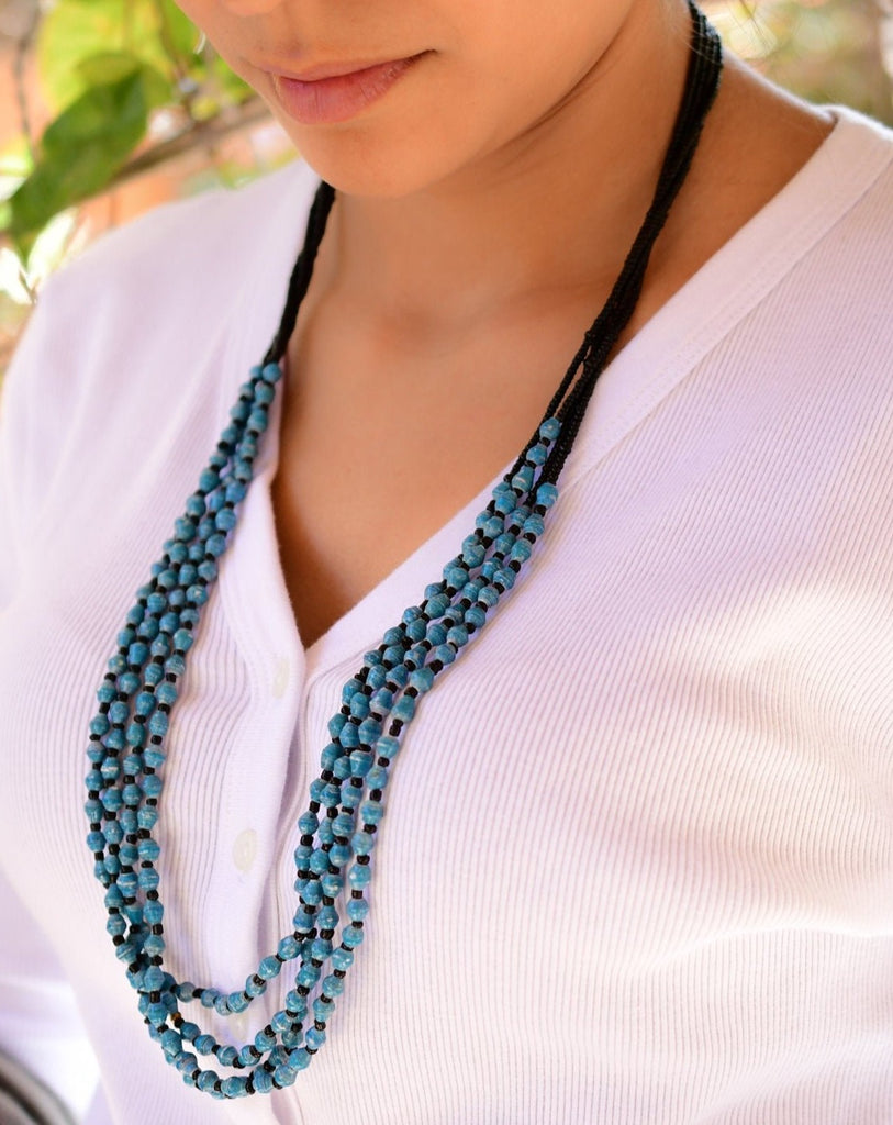 Blue Paper Beads and seed beads Necklace ~ LN036