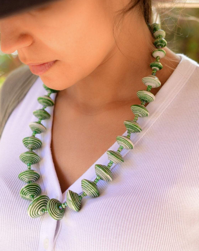 Green Paper Beads Necklace ~ LN002