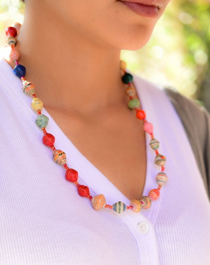Multi Color Paper Beads Necklace ~ LN021