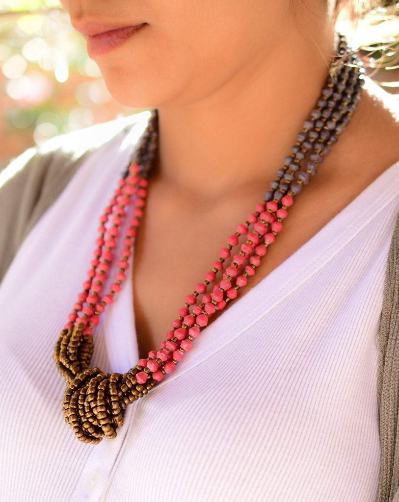 Paper Beads and seed beads Necklace ~ LN053