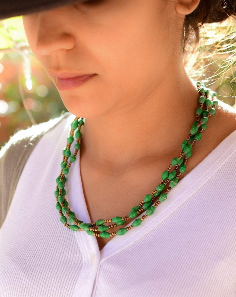 Green Paper Beads Necklace ~ LN058