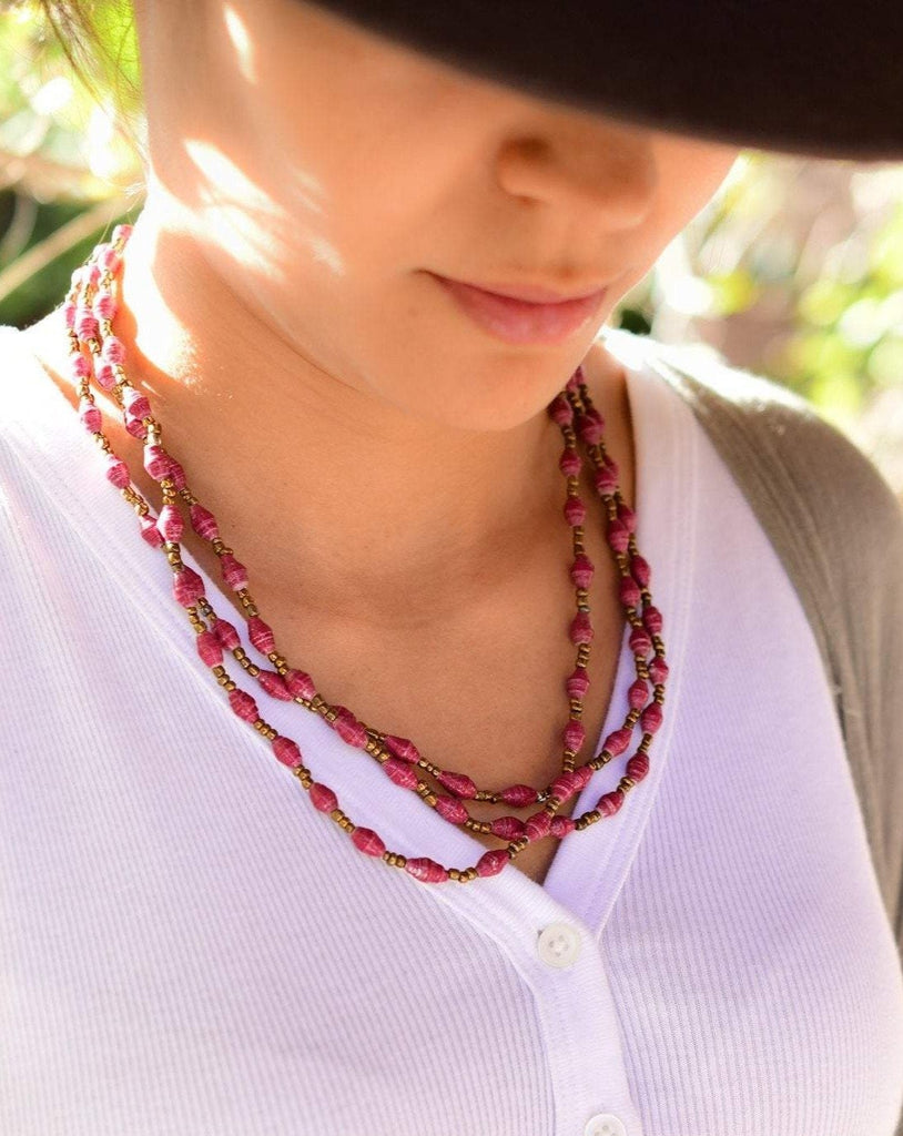 Burgundy Paper Beads Necklace ~ LN064