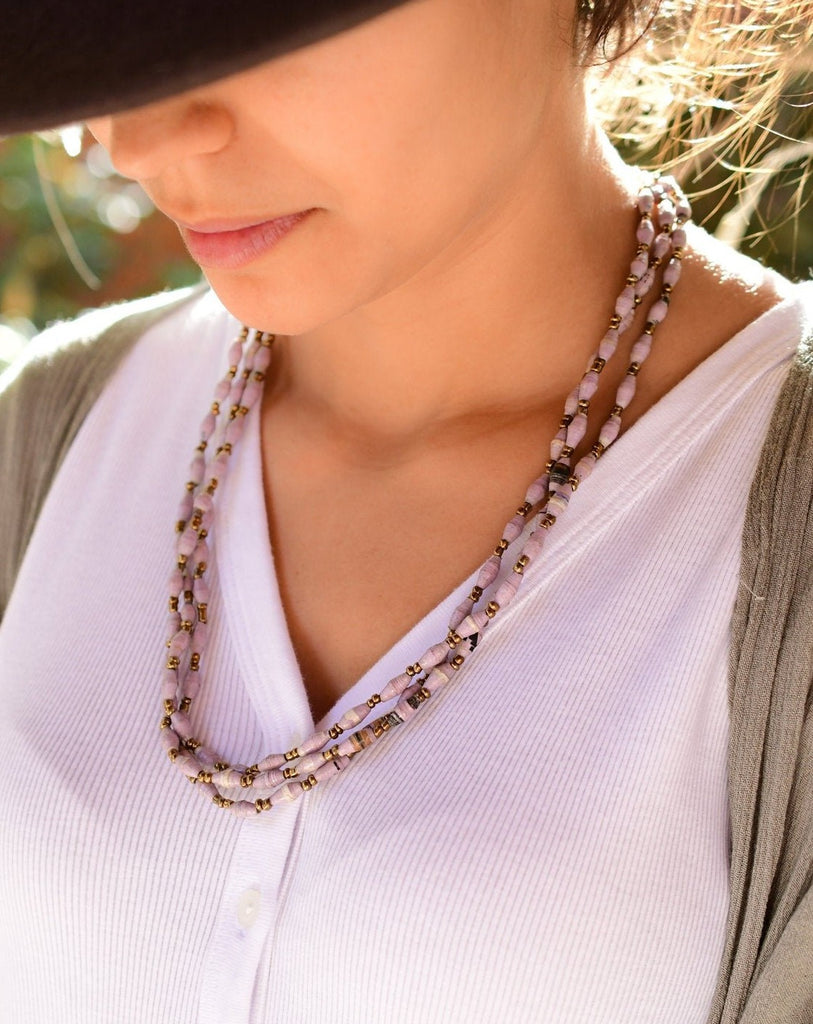 Paper Beads Necklace ~ LN063