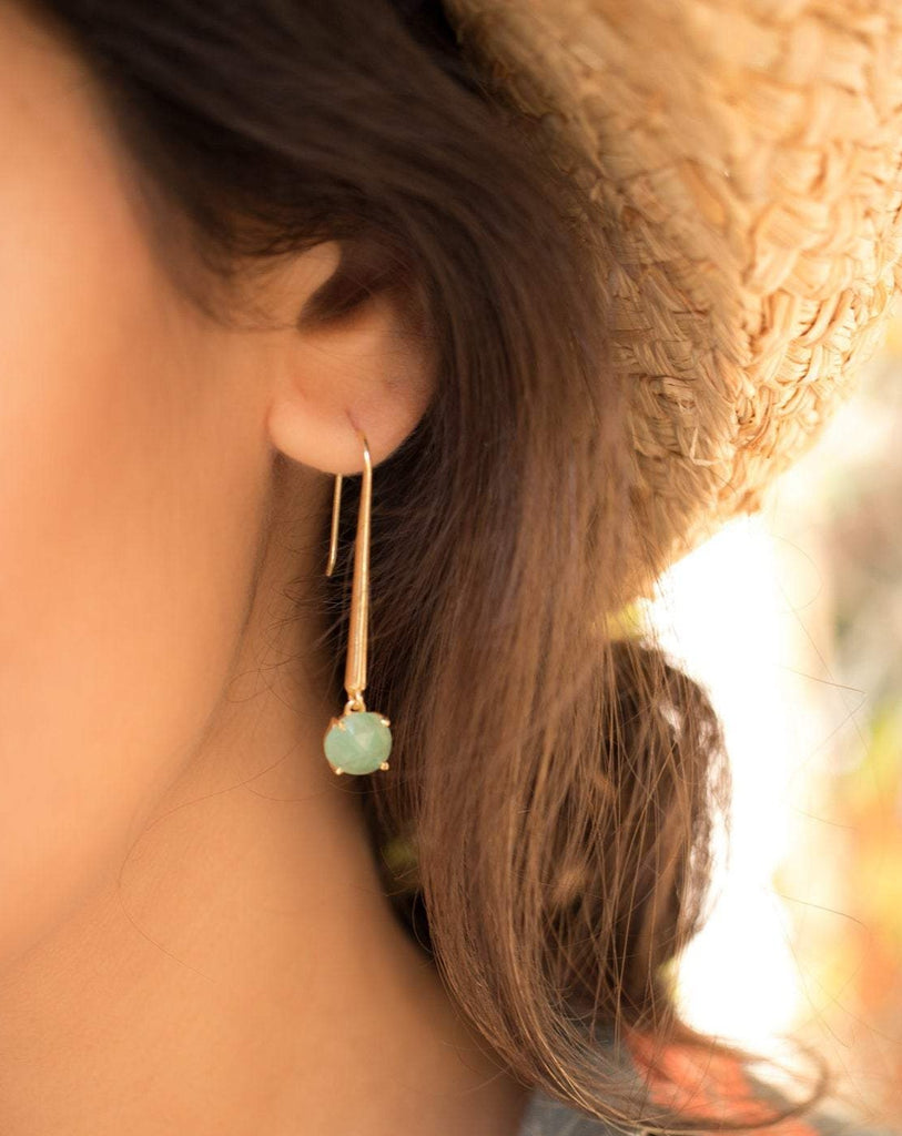 Green Aventurine Earrings ~ 18k Gold Plated~ ME091 - Maresia Jewelry