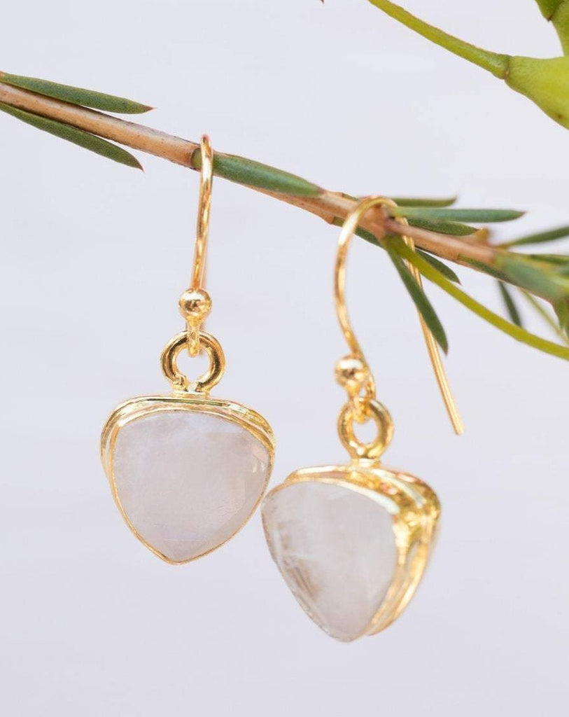 Moonstone Earrings ~ Gold Vermeil  ~ ME116 - Maresia Jewelry