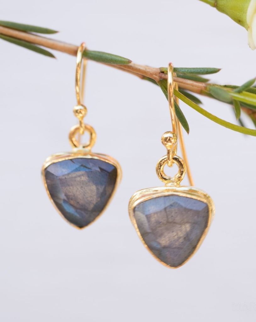 Labradorite Earrings ~ Gold Vermeil ~ ME117 - Maresia Jewelry