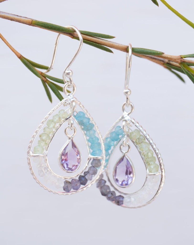 Amethyst, Labradorite, Moonstone, Aqua Chalcedony and Peridot Earrings~  Sterling Silver 925~ ME120 - Maresia Jewelry