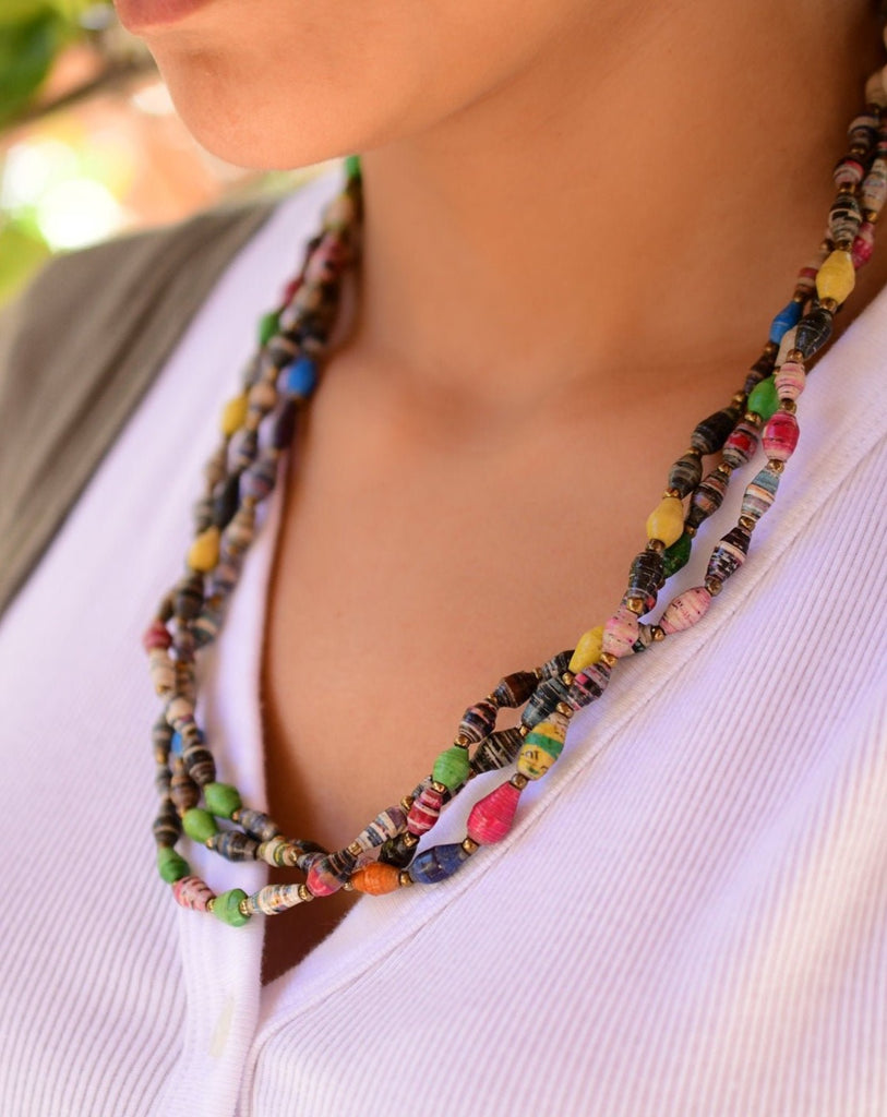 Multi Color Paper Beads Necklace ~ LN033