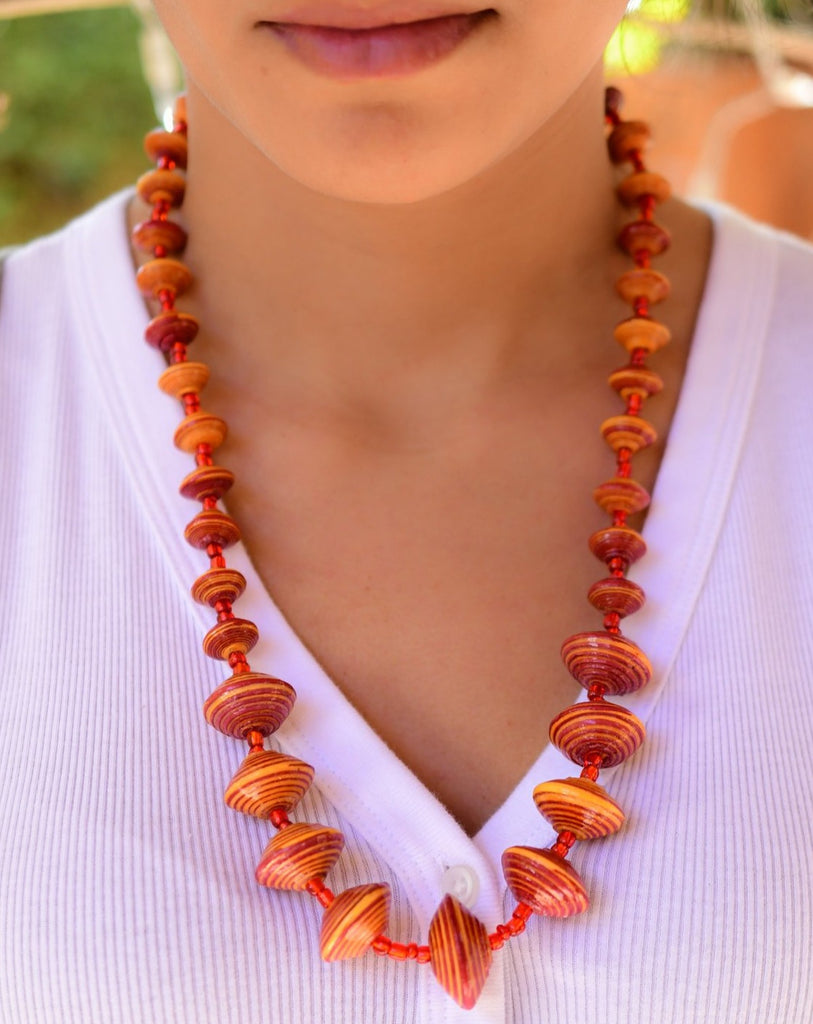 Orange Paper Beads Necklace ~ LN011