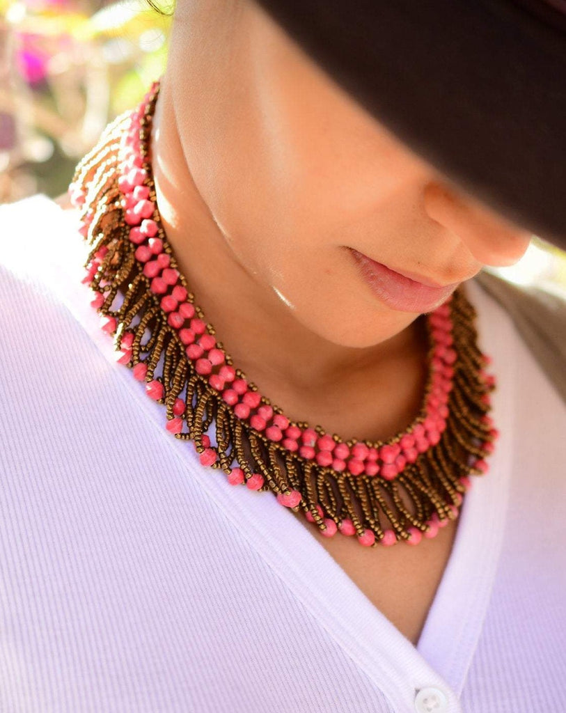Pink Beads Necklace ~ LN047