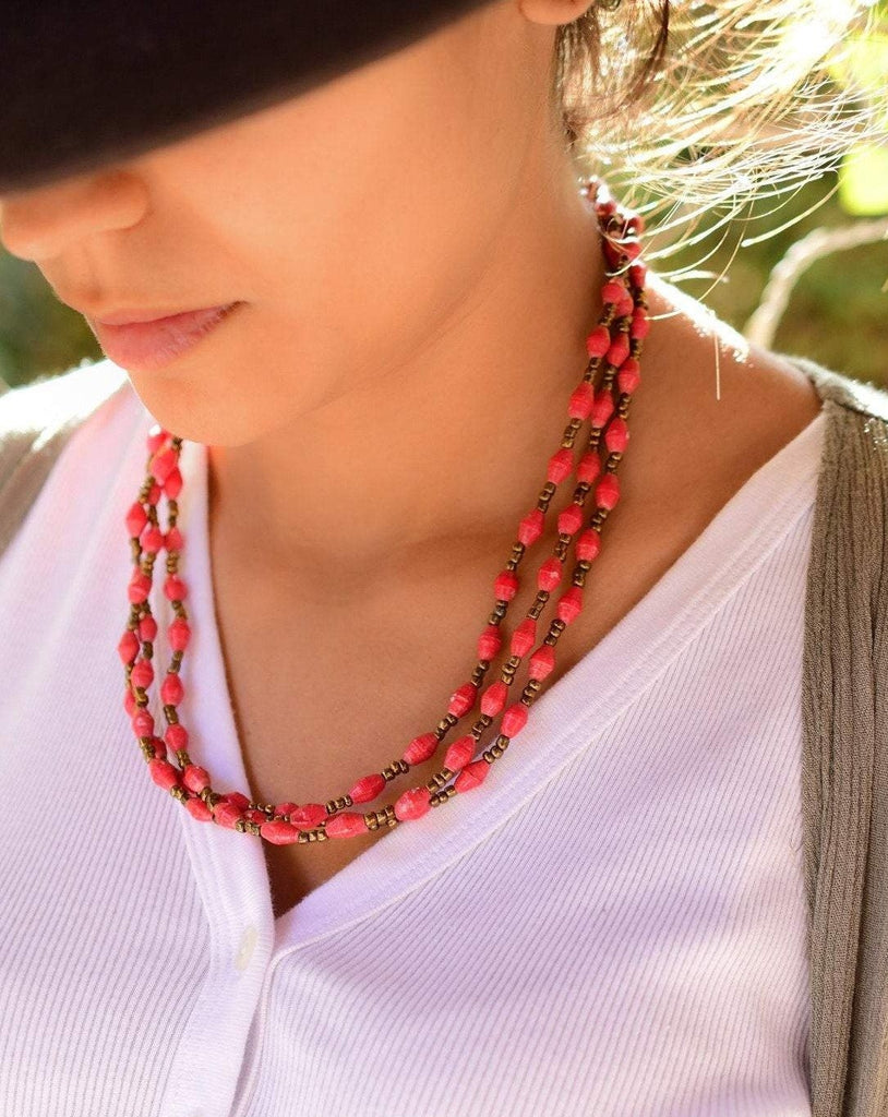 Red Paper Beads Necklace ~ LN059