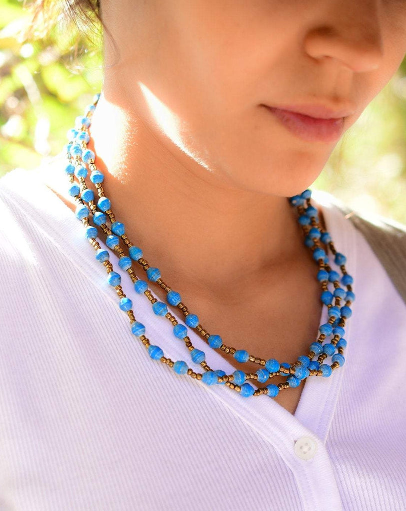 Blue Paper Beads Necklace ~ LN056