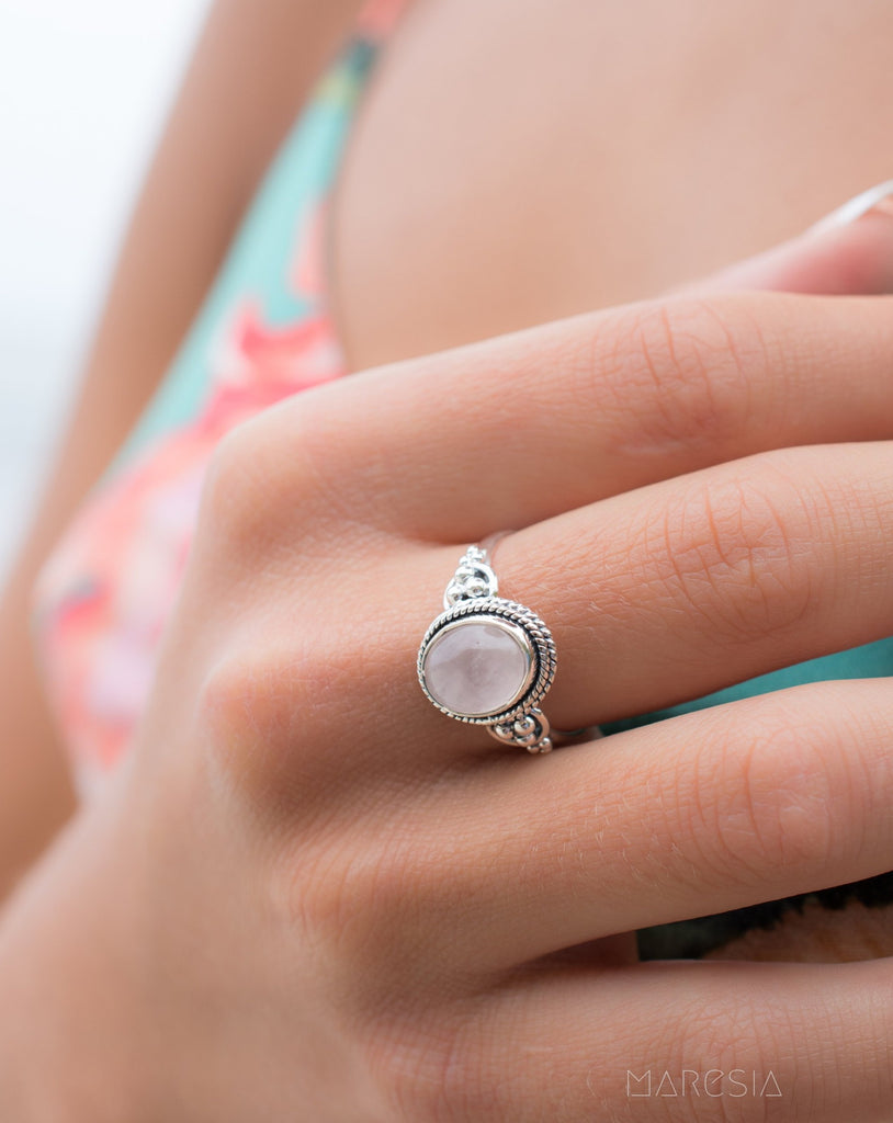 Rose Quartz Ring ~ Sterling Silver 925 ~MR188 - Maresia Jewelry