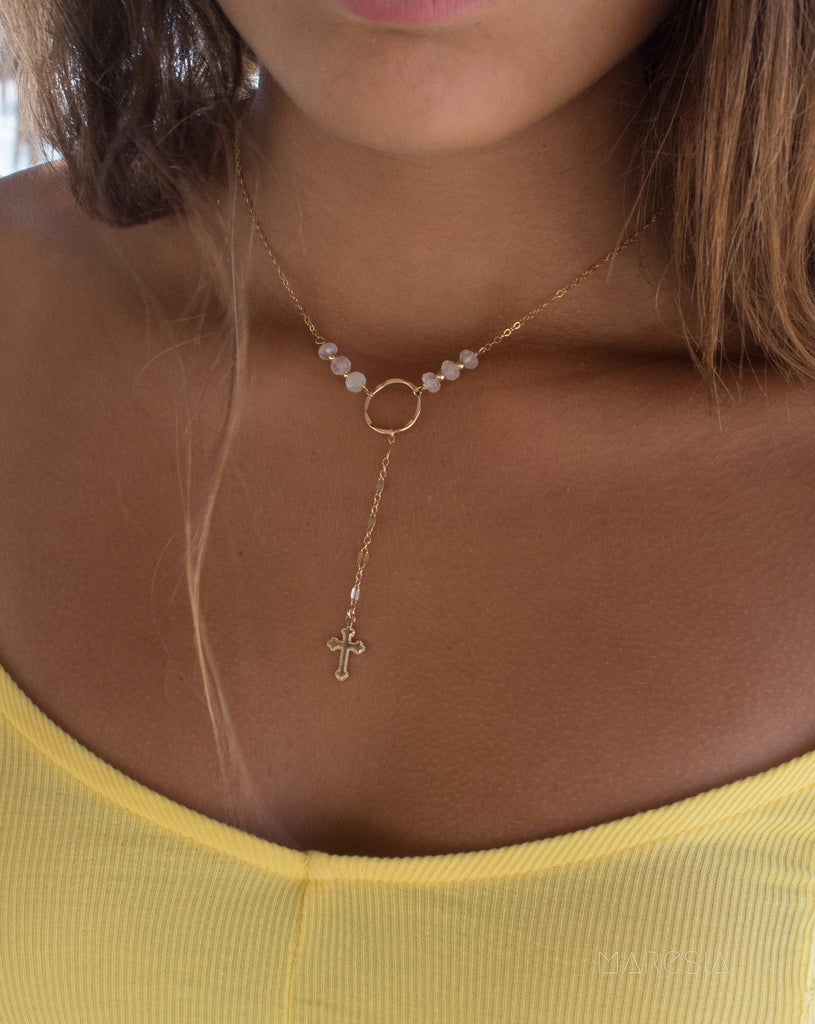 Y necklace Moonstone Cross ~ Gold Filled ~ Dainty Gold Necklace ~ Hammered Circle ~Minimalist ~Delicate ~Layered MN027