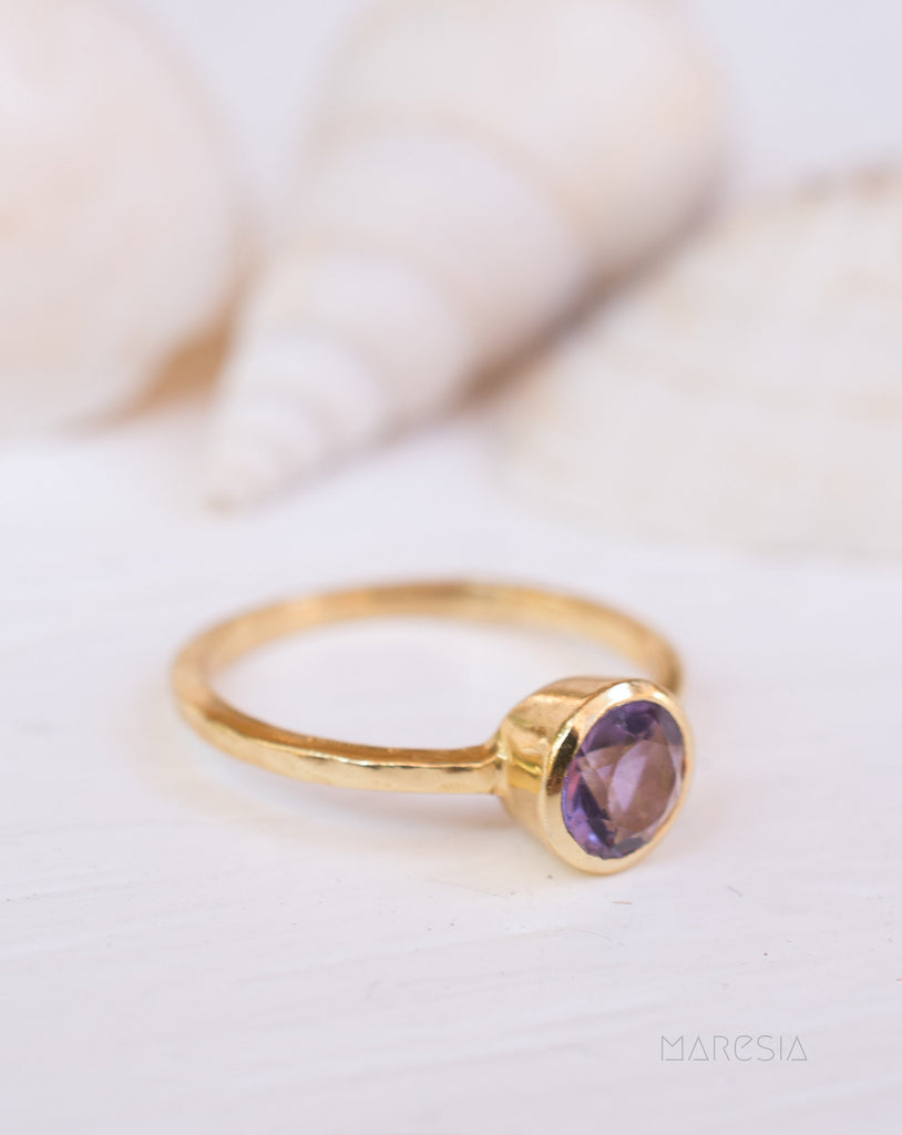 Amethyst Gold Ring ~ Delicate ~ 18k Gold Plated ~ Handmade ~ Gemstone~Statement ~Everyday~ Hippie~Bohemian~Stackable