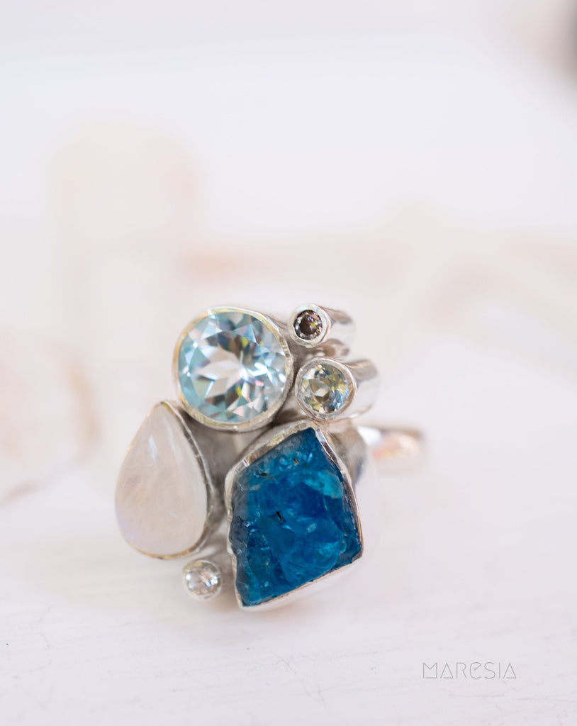 Blue Apatite Rough, Blue Topaz, & Moonstone Adjustable Ring ~Sterling Silver 925~Handmade ~ Gemstone ~ Statement Ring ~Hippie ~MR216