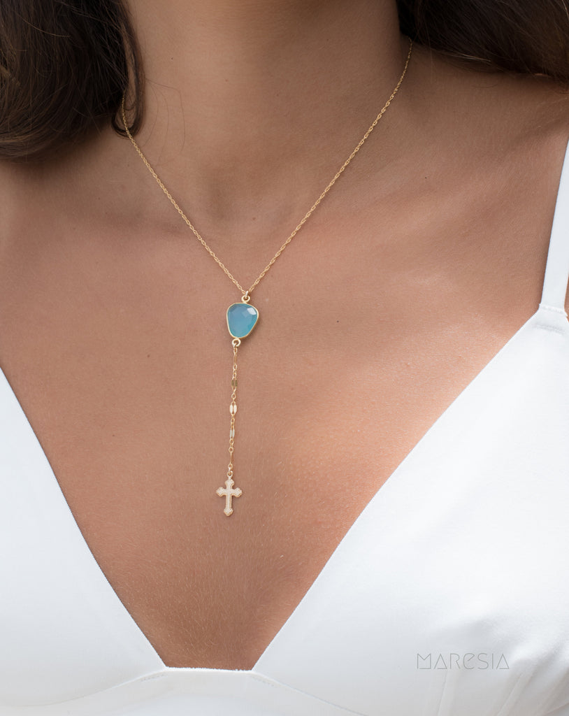 Y necklace Blue Chalcedony Cross ~ Gold Filled ~ Dainty Gold Necklace ~Minimalist ~Delicate ~Layered