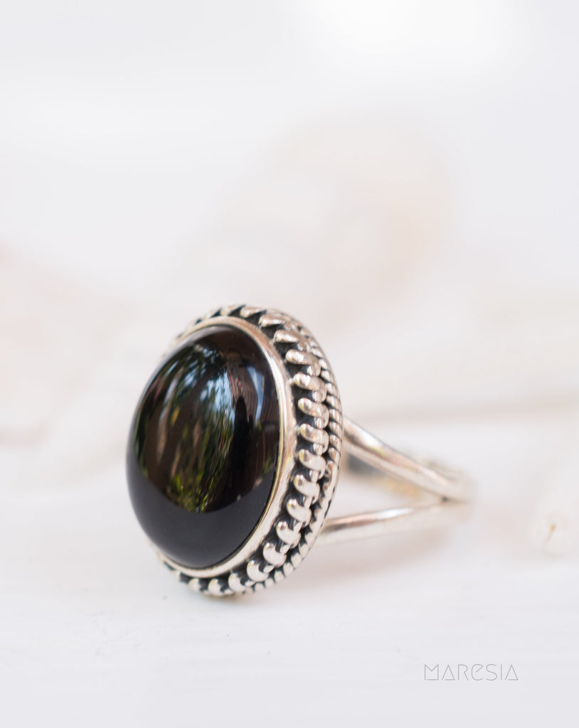 Black Onyx Ring ~ Sterling Silver 925 ~Handmade ~Adjustable ~Boho ~Hippie ~ Bohemian~Gift For Her MR208