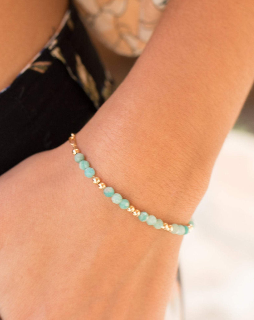 Amazonite Bracelet ~ Gold Filled or Sterling Silver 925 ~ MB017