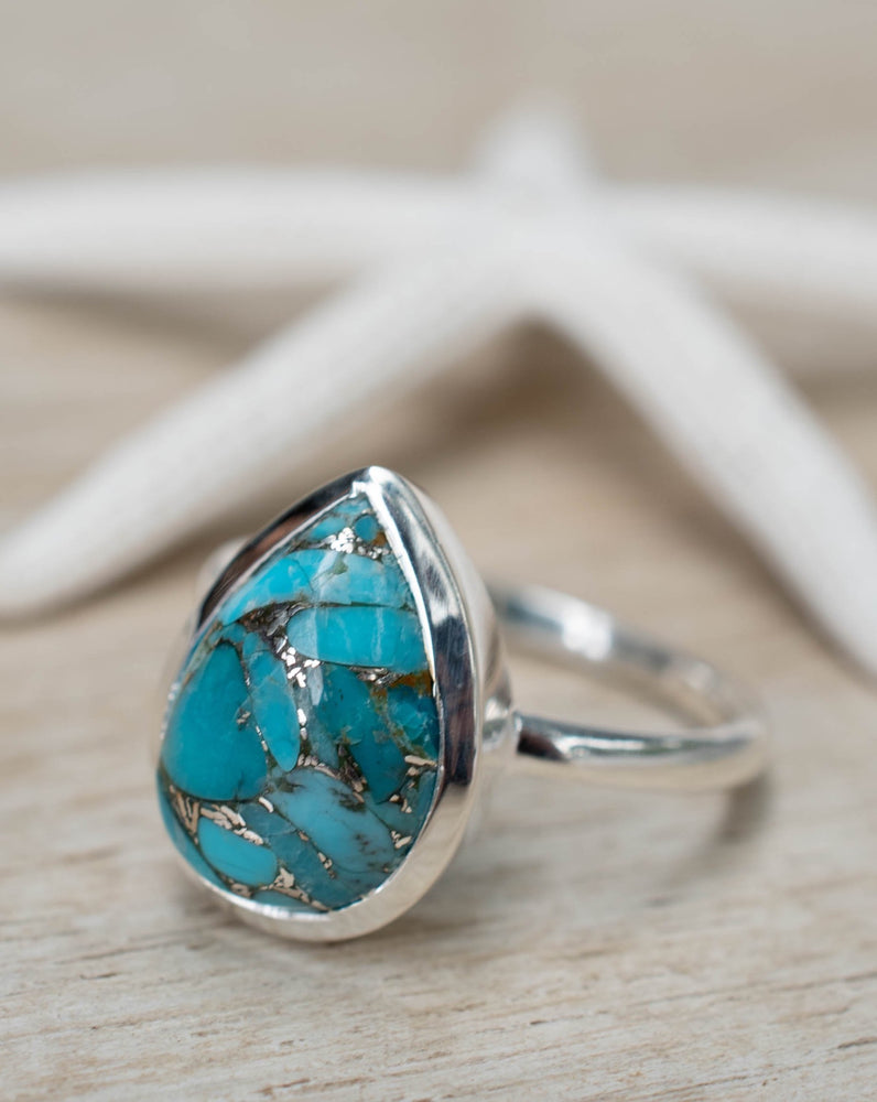 Copper Turquoise Tear Drop Ring ~ Sterling Silver 925 ~ MR224