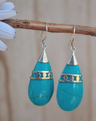 Turquoise Howlite Earrings ~ Sterling Silver 925 ~ SME - Maresia Jewelry