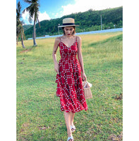 Andaman Red Polka Dot Midi Dress