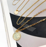 Gold Coin Portrait 5 Layers Necklace