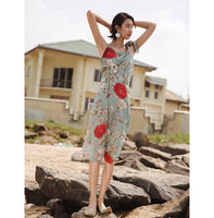 Opolu Big Flower Midi Dress