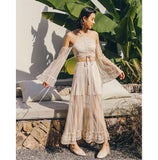 Simeulue Off Shoulder Blouse TWO-Piece Set Maxi Dress