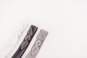 Knit Headband | Charcoal Stripe