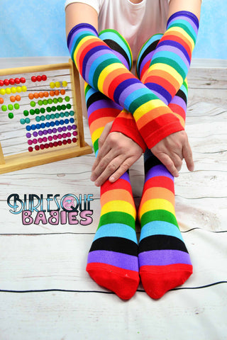 Rainbow thigh high and arm sleeve cuff set