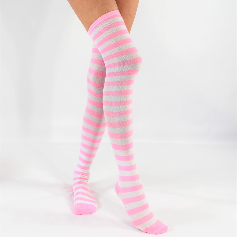 Cotton Thigh High Socks - Pink Striped