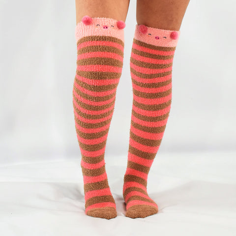 Piggy Piggy Fluffy Thigh High Socks