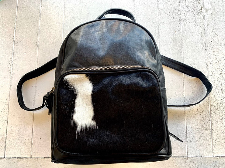 Tori Backpack - Black and White Cow Hide