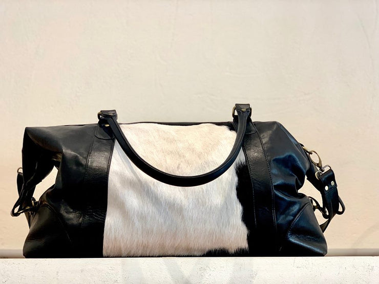 Cow Hide Duffle Day - Black and White