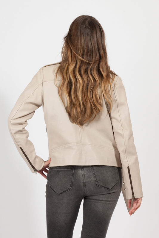Buy Leather Jacket - Elly Nude Cowhide Jacket, Real Leather