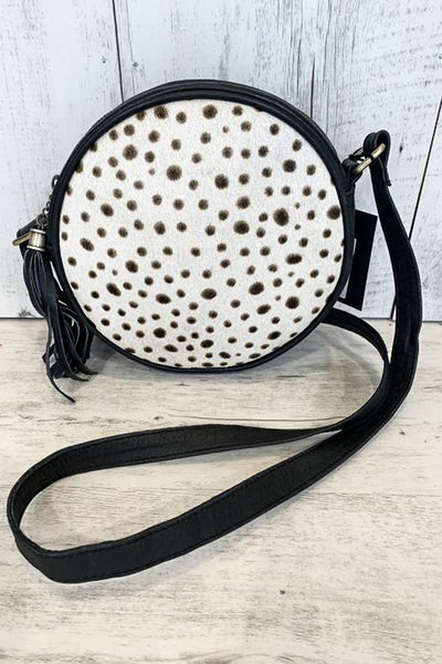 Round Leather Cowhide Bag