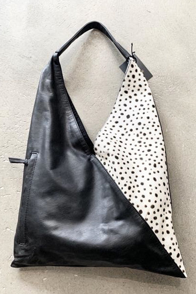 Marianna | Black Leather Lambskin Shopping Bag With Animal Spot Design