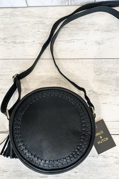 Leather Round Black Lambskin Bag
